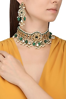 Gold Finish Kundan and Emerald Stones Choker Necklace Set by Chhavi's Jewels