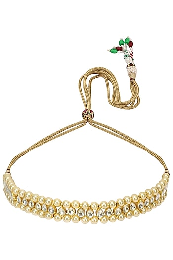 Gold Finish Kundan and Pearl Choker Necklace by Chhavi's Jewels