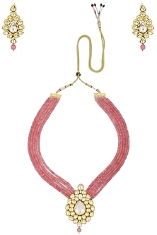 Gold Finish Kundan and Pink Multiple String Beads Necklace Set by Chhavi's Jewels