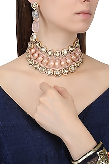 Gold Finish Zircons and Pearl Necklace Set by Chhavi's Jewels