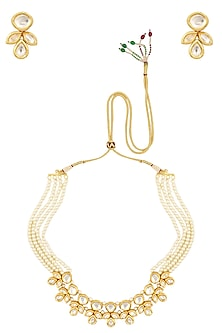 Pearl and Kundan Stone Multiple String Necklace Set by Chhavi's Jewels