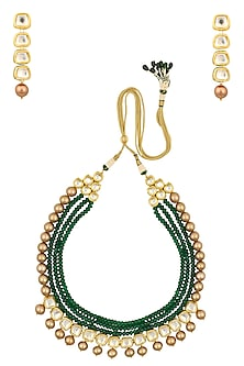 Gold Finish Emerald and Pearl Multiple String Necklace Set by Chhavi's Jewels
