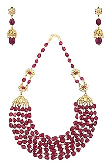 Ruby, Emerald and Kundan Stone Multiple String Long Necklace Set by Chhavi's Jewels