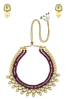 Ruby Stone and Golden Pearl Multiple String Necklace Set by Chhavi's Jewels