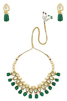 Gold Finish Kundan, Pearl and Emerald Stone Necklace Set by Chhavi's Jewels