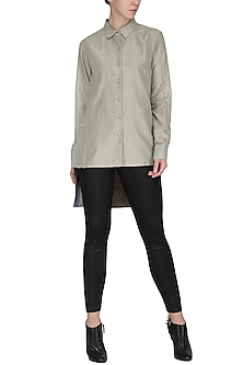 Olive green high-low shirt by Chillosophy