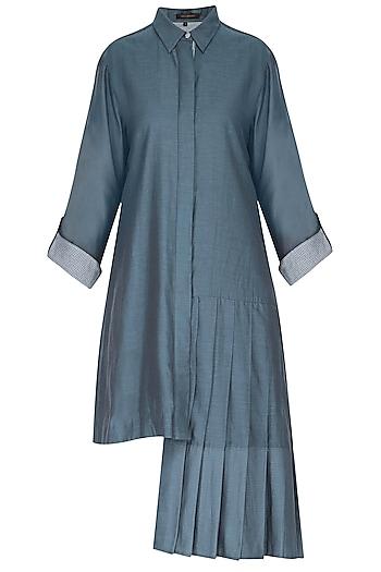 Blue asymmetric shirt tunic by Chillosophy