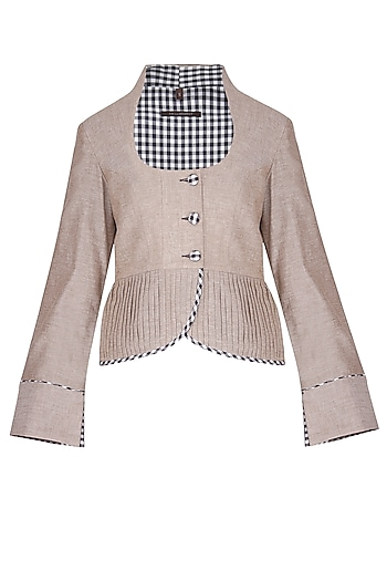 Beige pleats crop jacket by Chillosophy