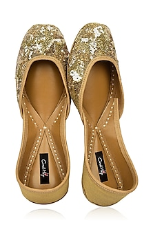 Gold Sequins Embroidered Juttis by Coral Haze