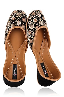 Black Zardozi and Sequins Embroidered Juttis by Coral Haze