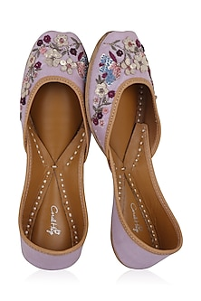 Lilac Hand Embroidered Juttis by Coral Haze