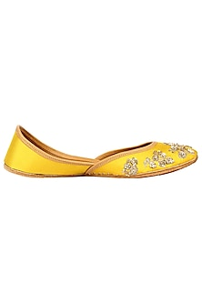 Yellow Embroidered Juttis by Coral Haze