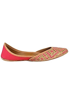 Pink And Gold Embroidered Juttis by Coral Haze