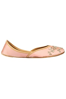 Pale Pink Embroidered Juttis by Coral Haze