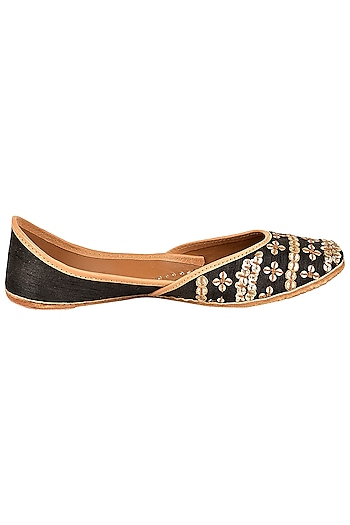 Black Silk Embroidered Juttis by Coral Haze