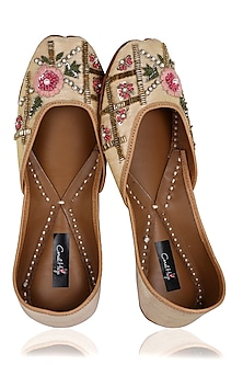 Beige and Multi-Colour Hand Embroidered Juttis by Coral Haze