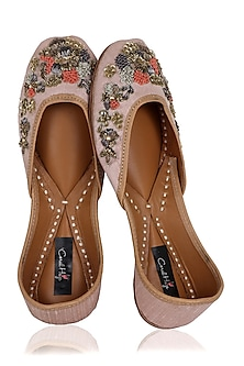 Peach and Multi-Colour Thread Hand Embroidered Juttis by Coral Haze
