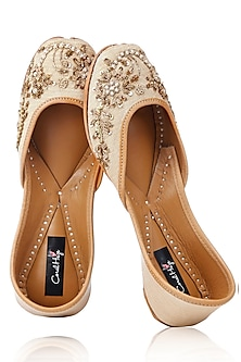 Beige and Gold Floral Hand Embroidered Juttis by Coral Haze
