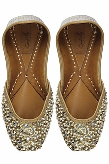 Bling gold sequins, stones and pearl work juttis by Coral Haze