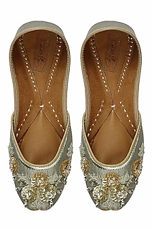 Sage green sequins and zari embroidered juttis by Coral Haze