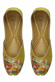 Yellowish green thread embroidered parrot motifs juttis by Coral Haze