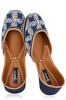 Denim Blue Floral Hand Embroidered Juttis by Coral Haze
