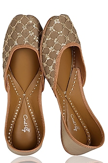 Brown and Gold Hand Embroidered Juttis by Coral Haze