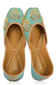 Turquoise Hand Embroidered Juttis by Coral Haze
