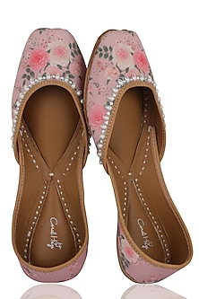 Dusty Pink Floral Printed Juttis by Coral Haze