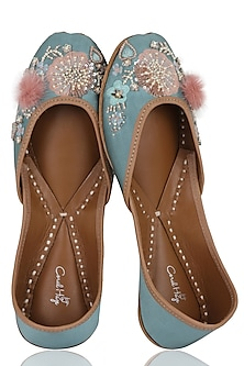 Pale Teal Blue Hand Embroidered Pom-Pom Embellished Juttis by Coral Haze