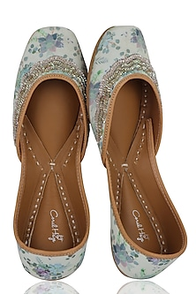 Cream and Sea Blue Floral Printed Juttis by Coral Haze
