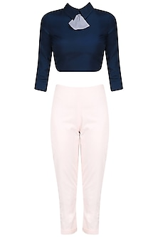 Navy Blue Peplum Bow Crop Top with Peter Pan Trouser Pants by The Circus by Sana and Sulakshana