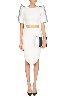 White Structured Crop Shirt with Petal Skirt by The Circus by Sana and Sulakshana