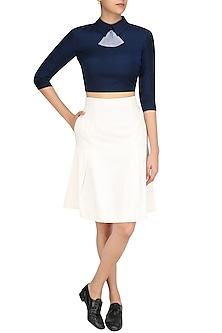 Navy Blue Peplum Bow Crop Top and Skirt Set by The Circus by Sana and Sulakshana