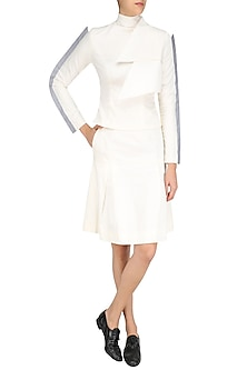 White Layered Peplum High Neck Top and Skirt Set by The Circus by Sana and Sulakshana