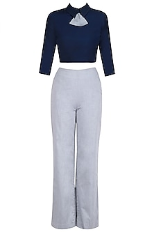 Navy Blue Peplum Bow Crop Top with Trouser Pants by The Circus by Sana and Sulakshana