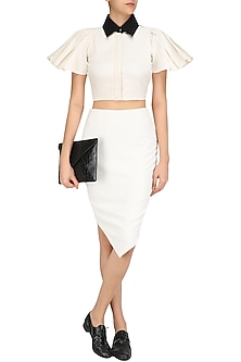 White Peplum Sleeves Crop Top and Petal Skirt Set by The Circus by Sana and Sulakshana