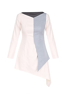 Charcoal Grey and Powder Pink Color Block Asymmetrical Dress by The Circus by Sana and Sulakshana
