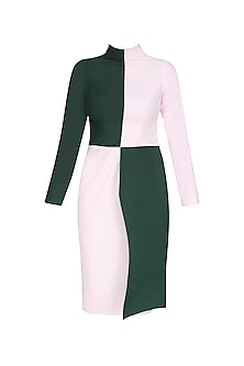 Emerald Green and Powder Pink Color Block Dress by The Circus by Sana and Sulakshana