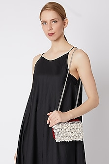 Wine Pearl Embroidered Clutch by Clutch'D