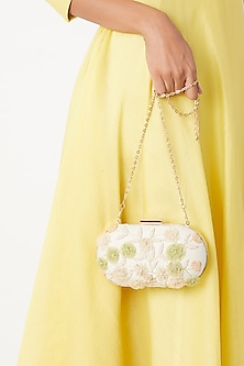 Ivory Floral Embroidered Clutch by Clutch'D