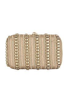 Gold Metal Chain Embroidered Clutch by Clutch'D