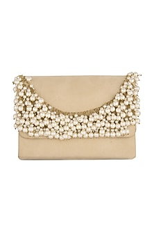 Creme Embroidered Clutch With Chain Handle by Clutch'D