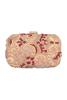 Blush Pink Embroidered Clutch by Clutch'D