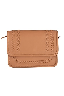 Tan Patterned Clutch With Handle by Clutch'D