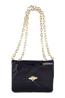 Blackish Blue Leather Sling Bag by Clutch'D