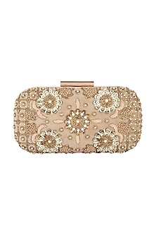 Golden Floral Embroidered Clutch by Clutch'D-Shop By Style