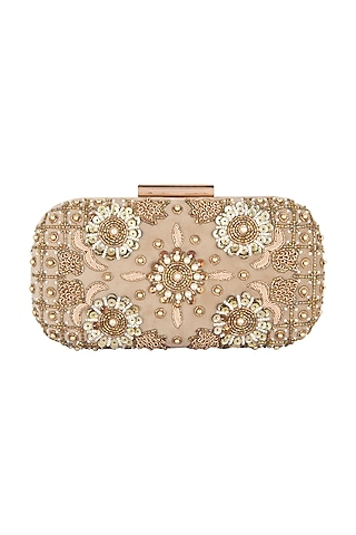 Golden Floral Embroidered Clutch by Clutch'D