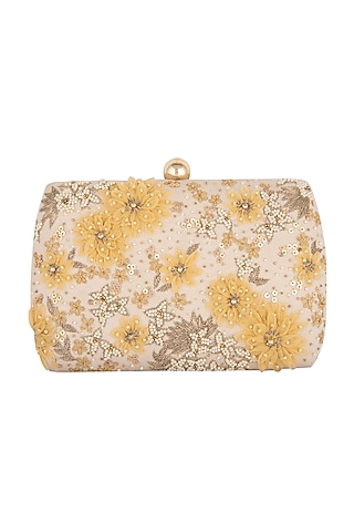 Creme Floral Embroidered Clutch by Clutch'D