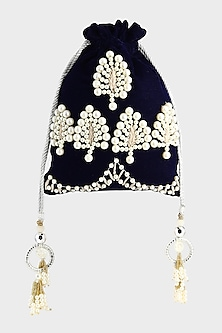 Midnight Blue Embroidered Potli by Clutch'D-POPULAR PRODUCTS AT STORE